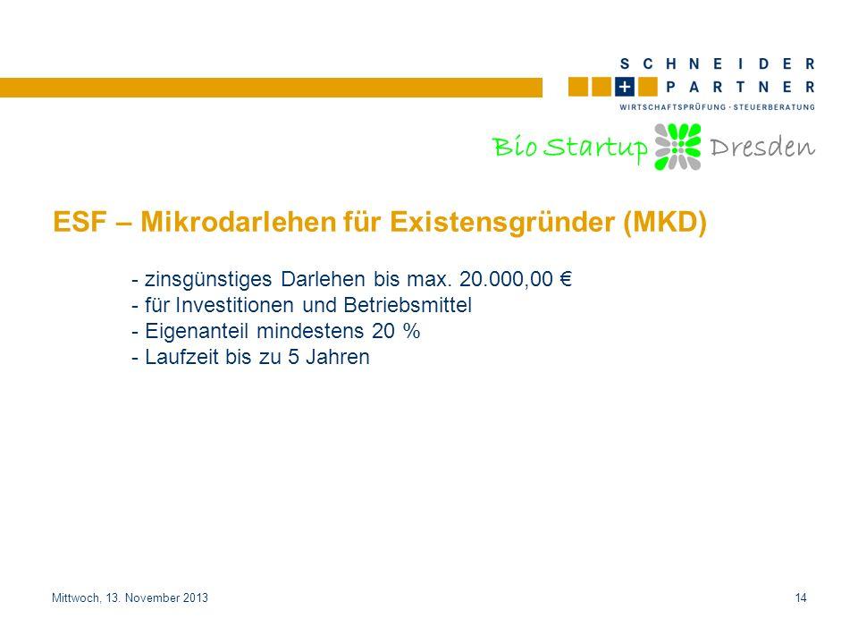 ESF – Mikrodarlehen für Existensgründer (MKD)