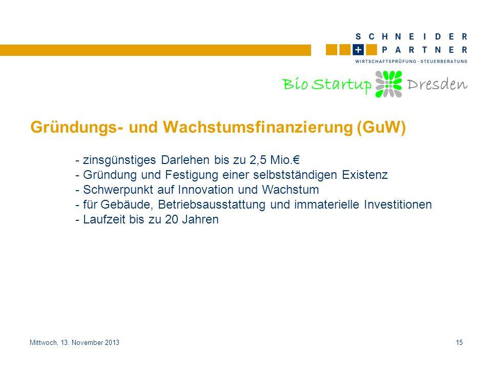 Gründungs- und Wachstumsfinanzierung (GuW)