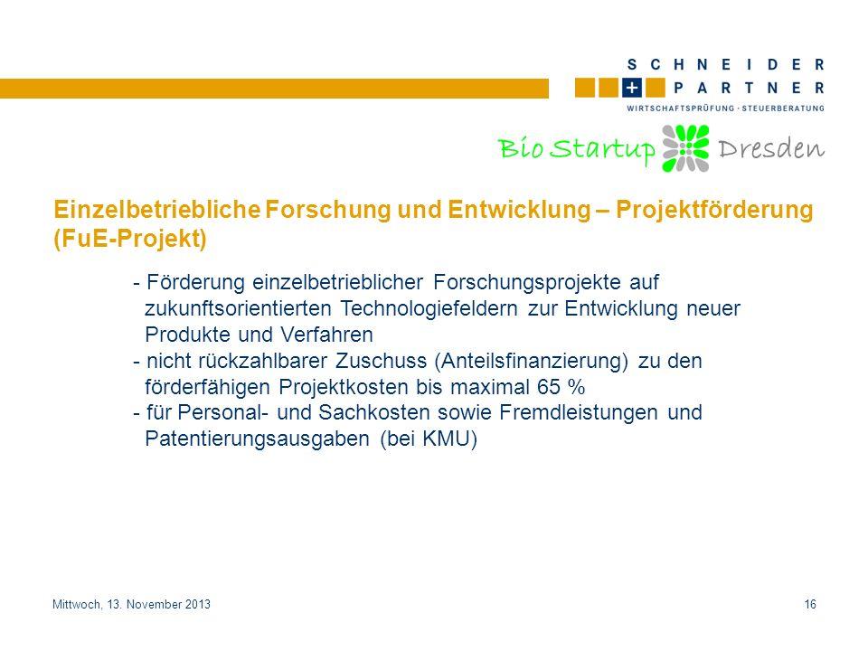 Einzelbetriebliche Forschung und Entwicklung – Projektförderung (FuE-Projekt)