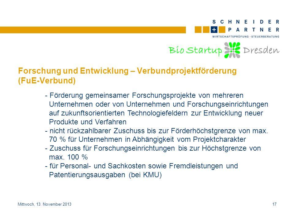 Forschung und Entwicklung – Verbundprojektförderung (FuE-Verbund)