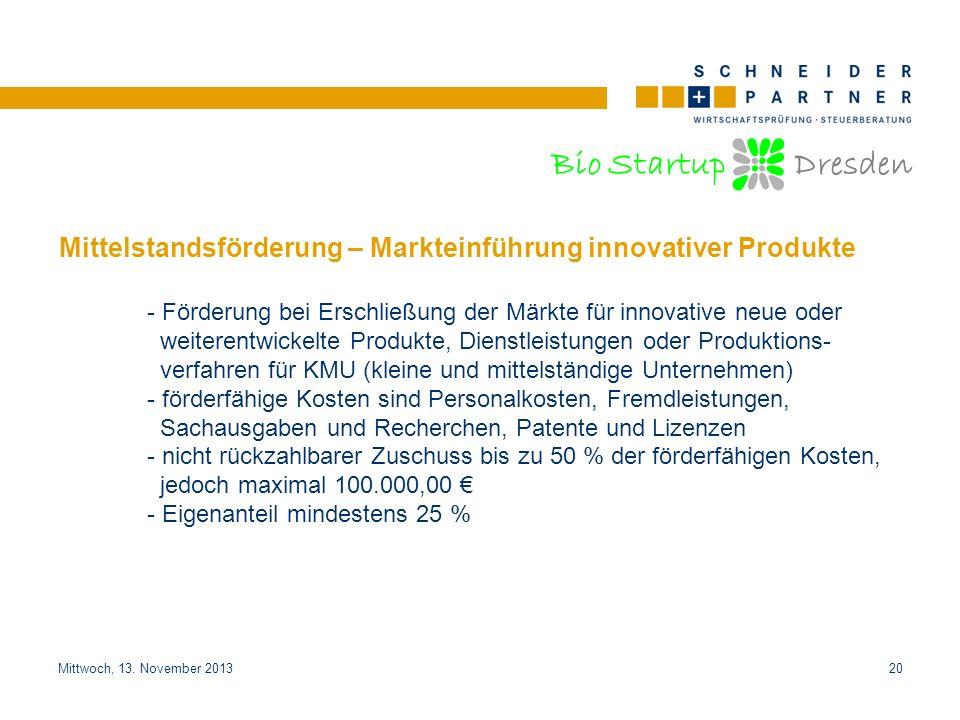 Mittelstandsförderung – Markteinführung innovativer Produkte