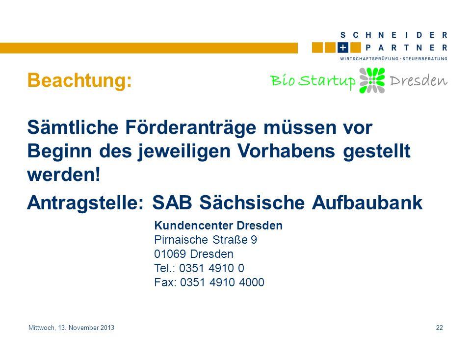 Antragstelle: SAB Sächsische Aufbaubank