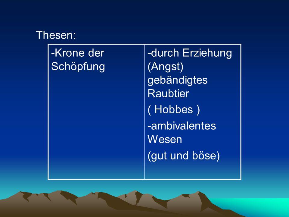 Thesen: -Krone der Schöpfung. -durch Erziehung (Angst) gebändigtes Raubtier. ( Hobbes ) -ambivalentes Wesen.