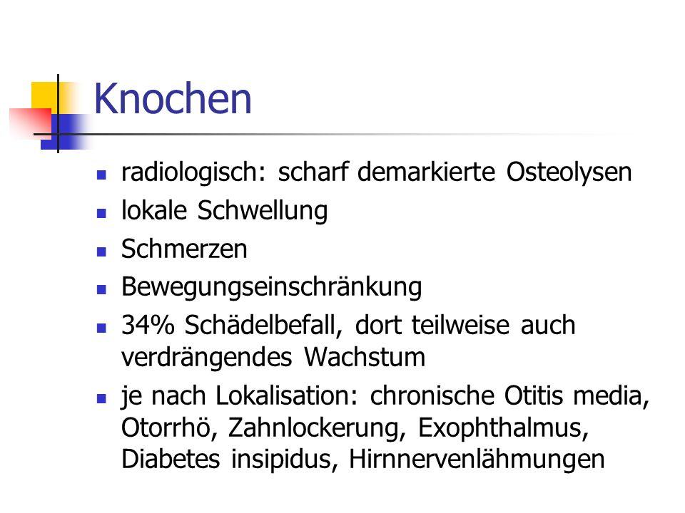 Knochen radiologisch: scharf demarkierte Osteolysen lokale Schwellung