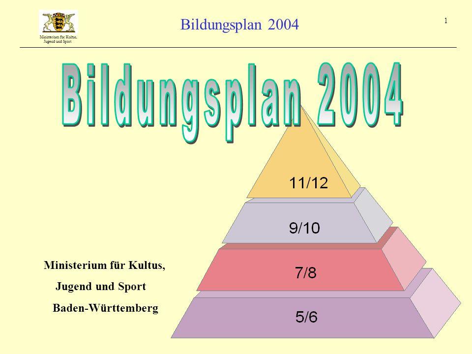Bildungsplan 2004 Ministerium für Kultus, Jugend und Sport