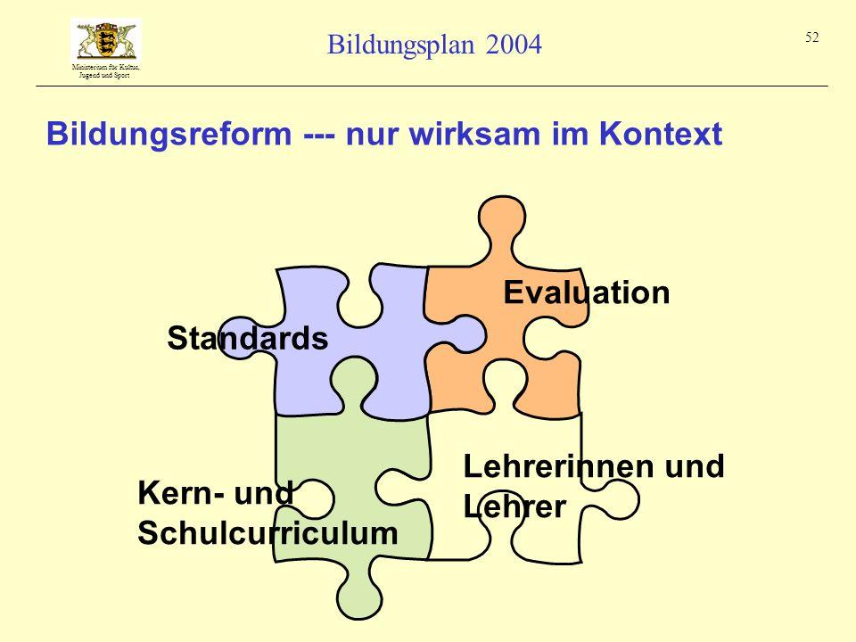 Bildungsreform --- nur wirksam im Kontext