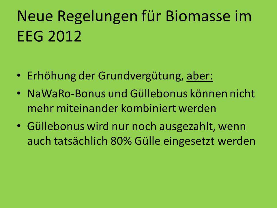 Neue Regelungen für Biomasse im EEG 2012