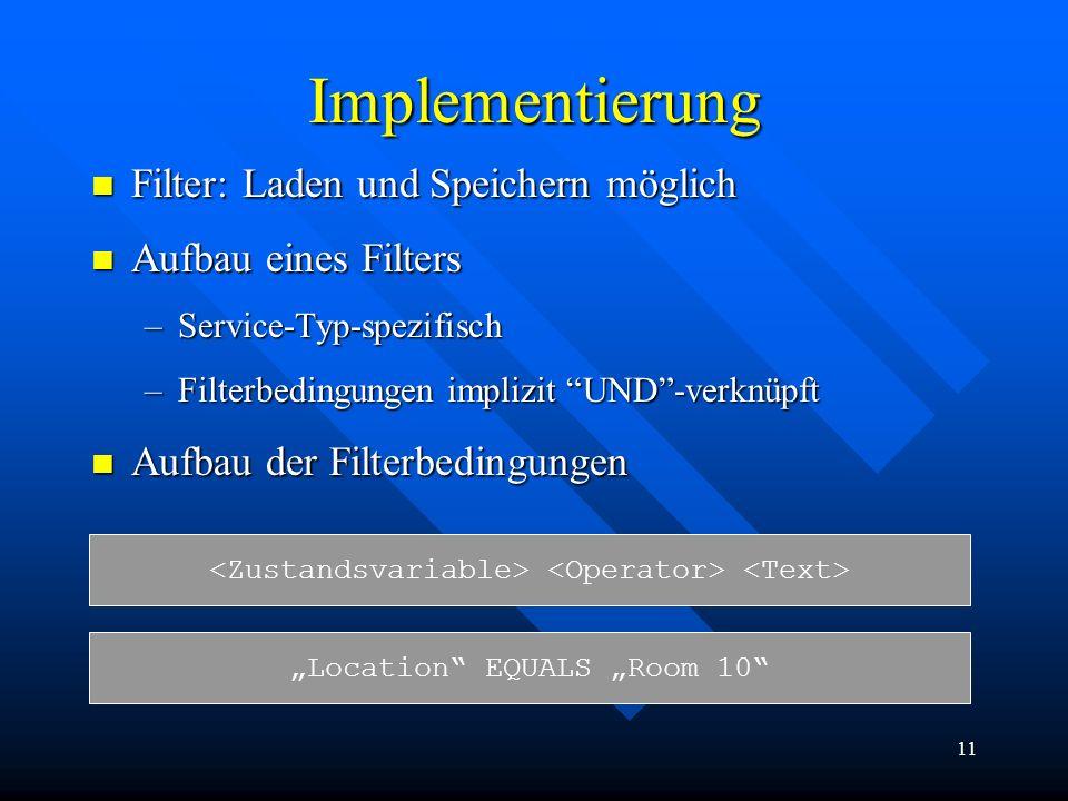 Implementierung Filter: Laden und Speichern möglich
