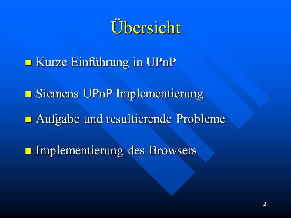Übersicht Kurze Einführung in UPnP Siemens UPnP Implementierung