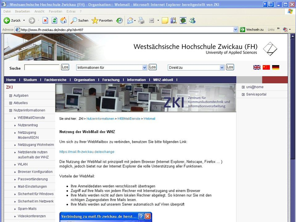 Mail an der WHZ • In allen Pools: Mail-Icon auf Desktop.
