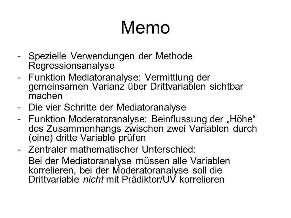 Memo Spezielle Verwendungen der Methode Regressionsanalyse