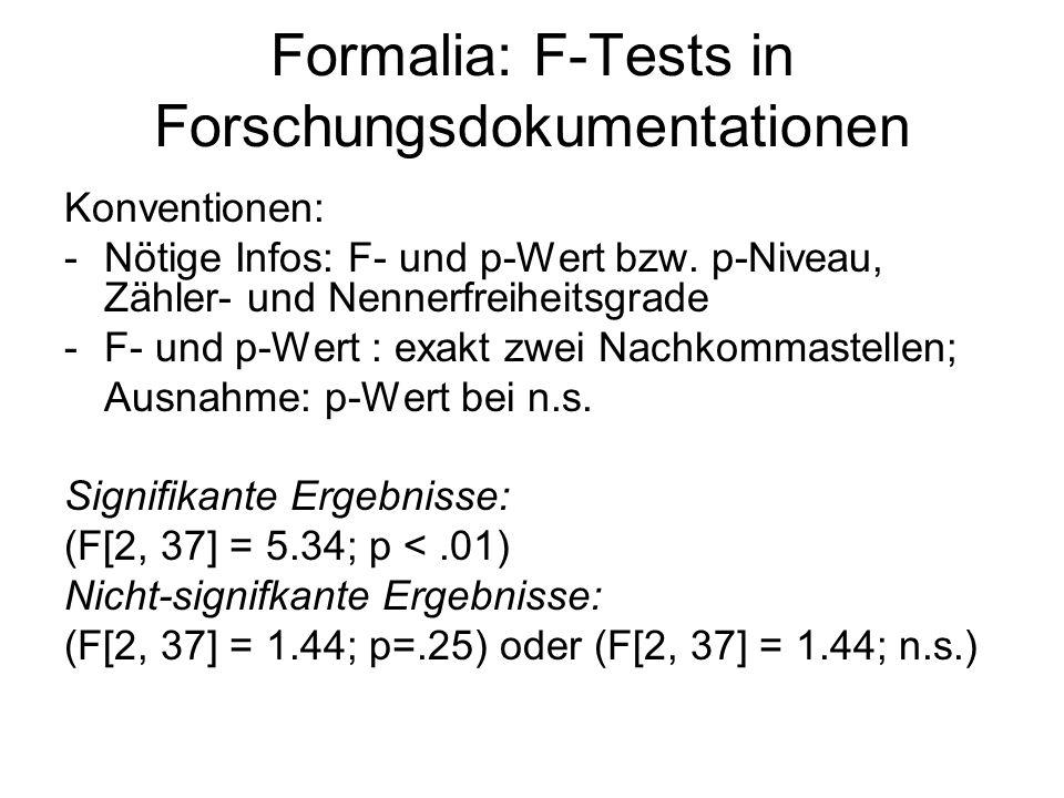 Formalia: F-Tests in Forschungsdokumentationen