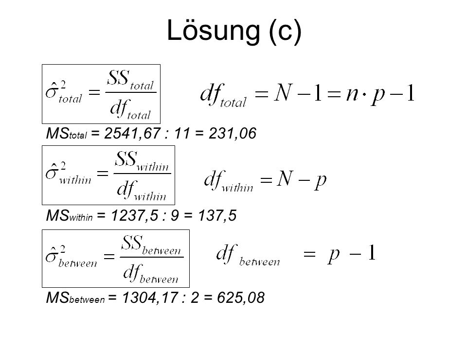 Lösung (c) MStotal = 2541,67 : 11 = 231,06. MSwithin = 1237,5 : 9 = 137,5.