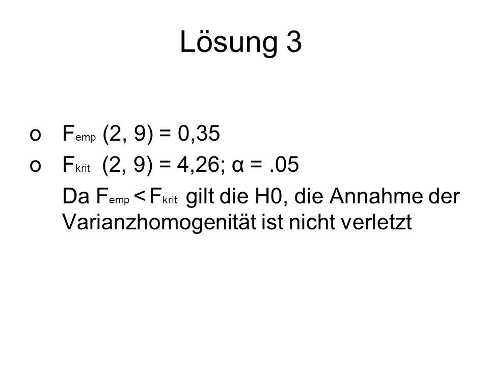 Lösung 3 Femp (2, 9) = 0,35 Fkrit (2, 9) = 4,26; α = .05
