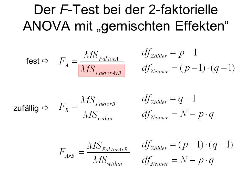 """Der F-Test bei der 2-faktorielle ANOVA mit """"gemischten Effekten"""