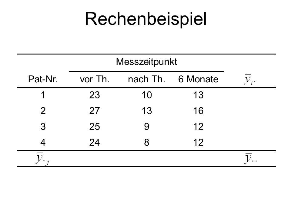 Rechenbeispiel Messzeitpunkt Pat-Nr. vor Th. nach Th. 6 Monate 1 23 10