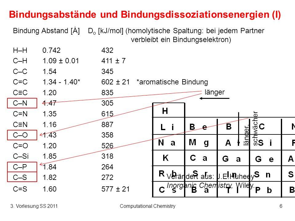 Bindungsabstände und Bindungsdissoziationsenergien (I)