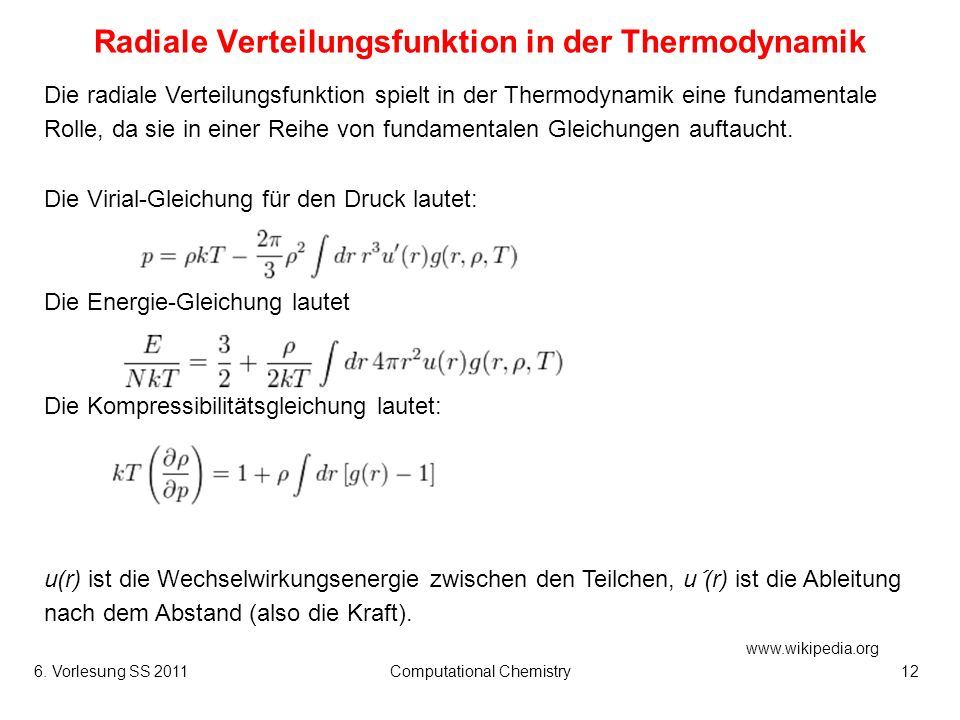 Radiale Verteilungsfunktion in der Thermodynamik