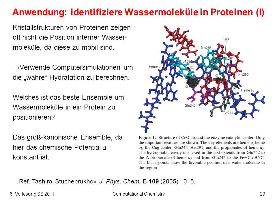 Anwendung: identifiziere Wassermoleküle in Proteinen (I)