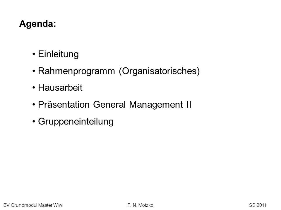 Agenda: Einleitung. Rahmenprogramm (Organisatorisches) Hausarbeit. Präsentation General Management II.
