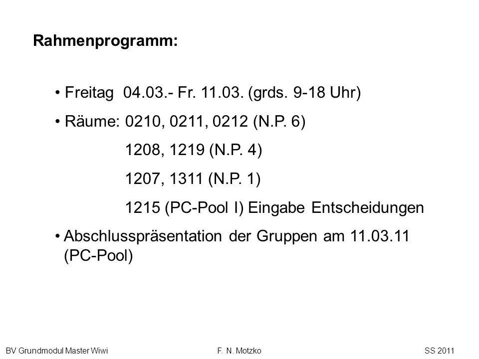 Rahmenprogramm: Freitag 04.03.- Fr. 11.03. (grds. 9-18 Uhr) Räume: 0210, 0211, 0212 (N.P. 6) 1208, 1219 (N.P. 4)