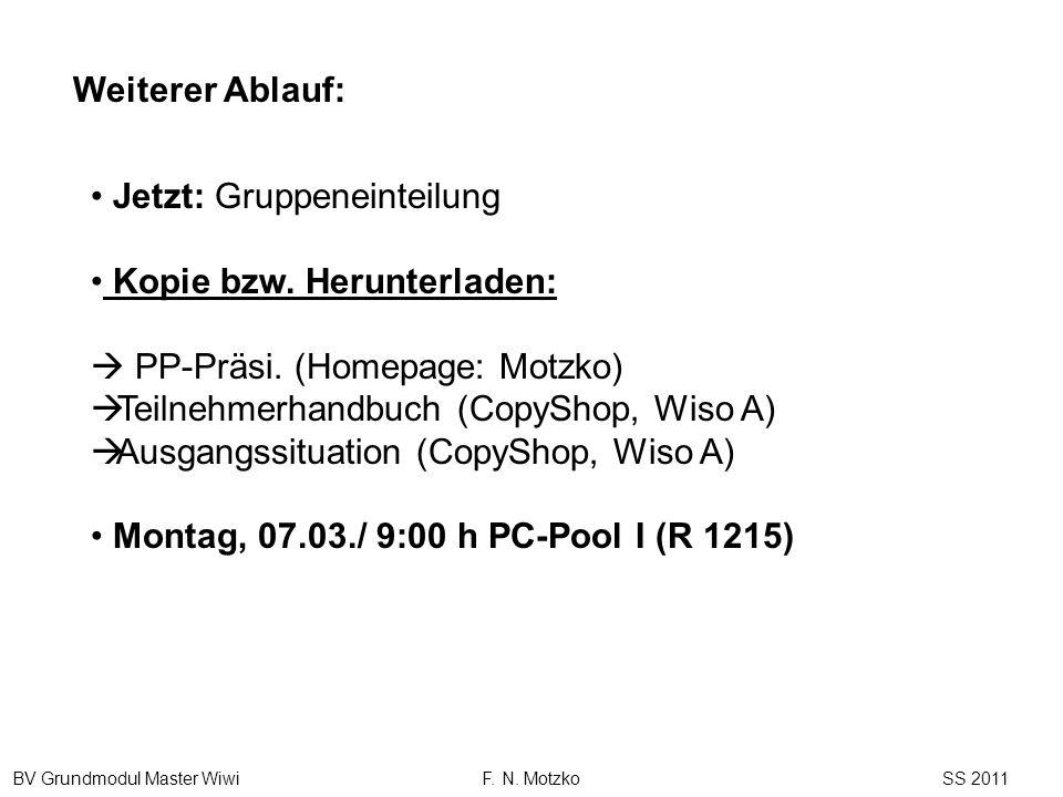 Weiterer Ablauf: Jetzt: Gruppeneinteilung. Kopie bzw. Herunterladen:  PP-Präsi. (Homepage: Motzko)