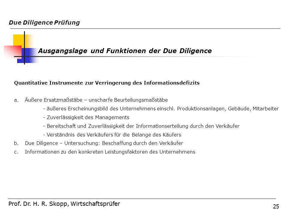 Ausgangslage und Funktionen der Due Diligence