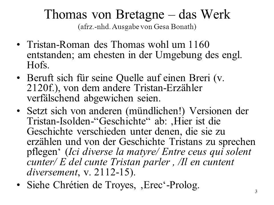 Thomas von Bretagne – das Werk (afrz.-nhd. Ausgabe von Gesa Bonath)