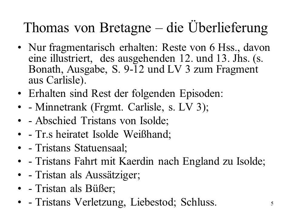 Thomas von Bretagne – die Überlieferung