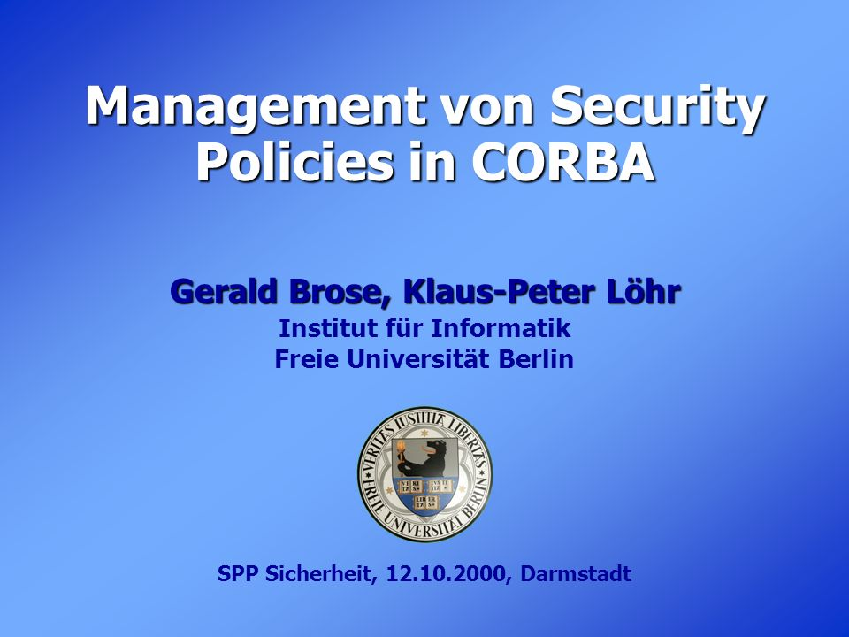 Management von Security Policies in CORBA