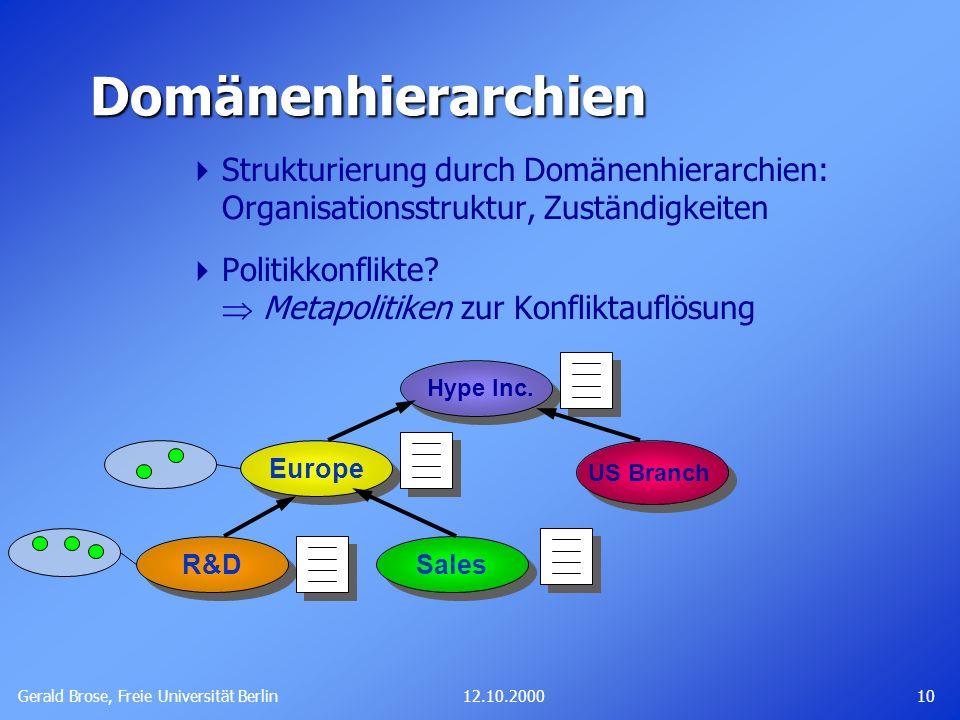 Domänenhierarchien Strukturierung durch Domänenhierarchien: Organisationsstruktur, Zuständigkeiten.