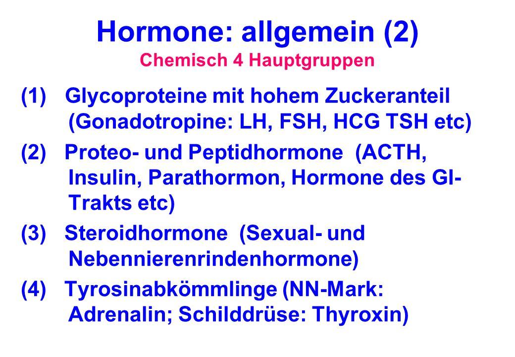 Hormone: allgemein (2) Chemisch 4 Hauptgruppen
