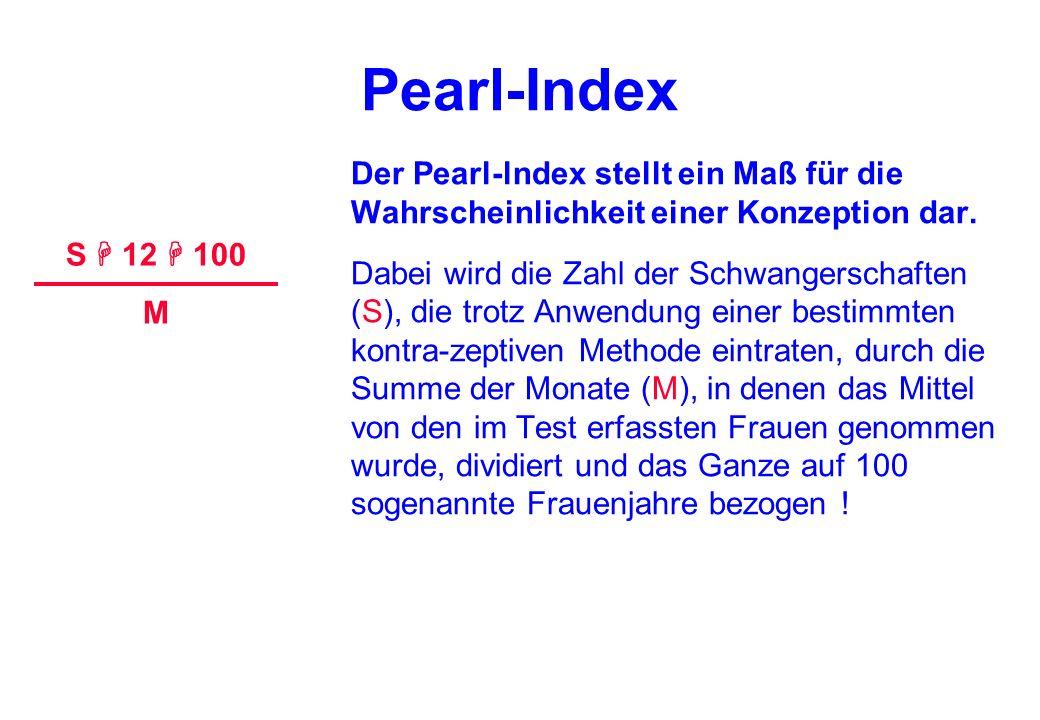 Pearl-Index Der Pearl-lndex stellt ein Maß für die Wahrscheinlichkeit einer Konzeption dar.
