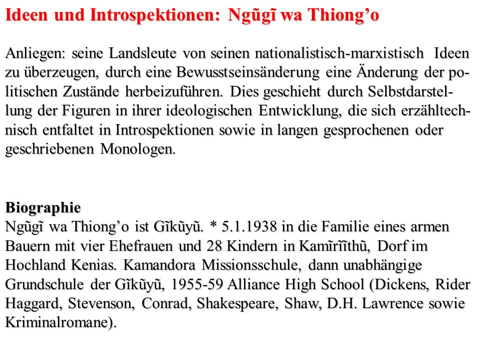 Ideen und Introspektionen: Ngũgĩ wa Thiong'o