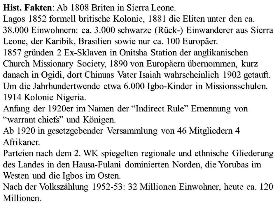 Hist. Fakten: Ab 1808 Briten in Sierra Leone.