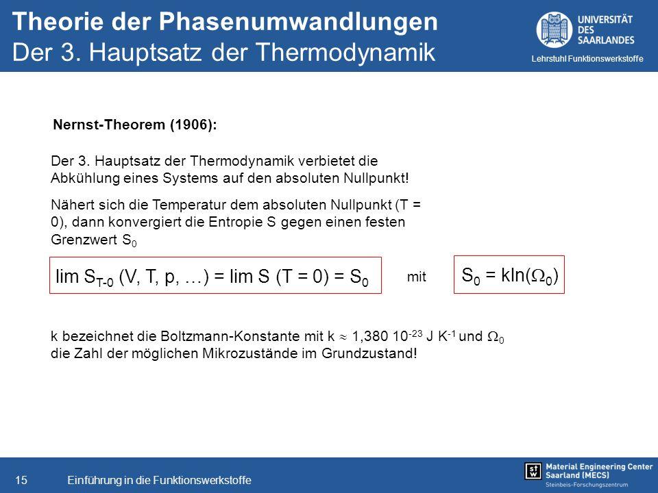 Theorie der Phasenumwandlungen Der 3. Hauptsatz der Thermodynamik