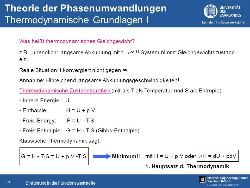 Theorie der Phasenumwandlungen Thermodynamische Grundlagen I