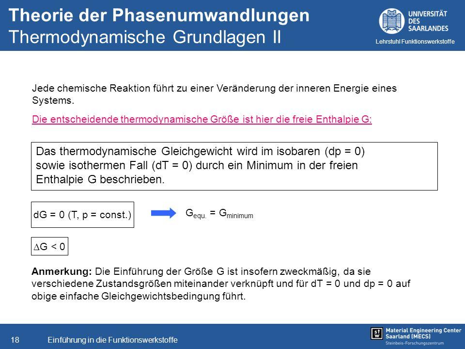 Theorie der Phasenumwandlungen Thermodynamische Grundlagen II