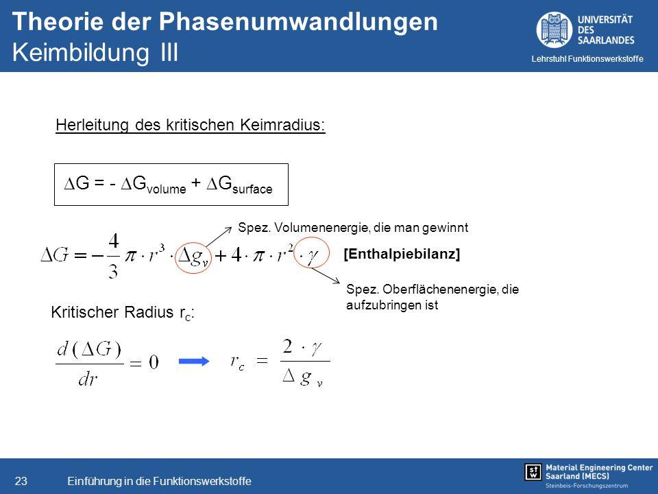 Theorie der Phasenumwandlungen Keimbildung III