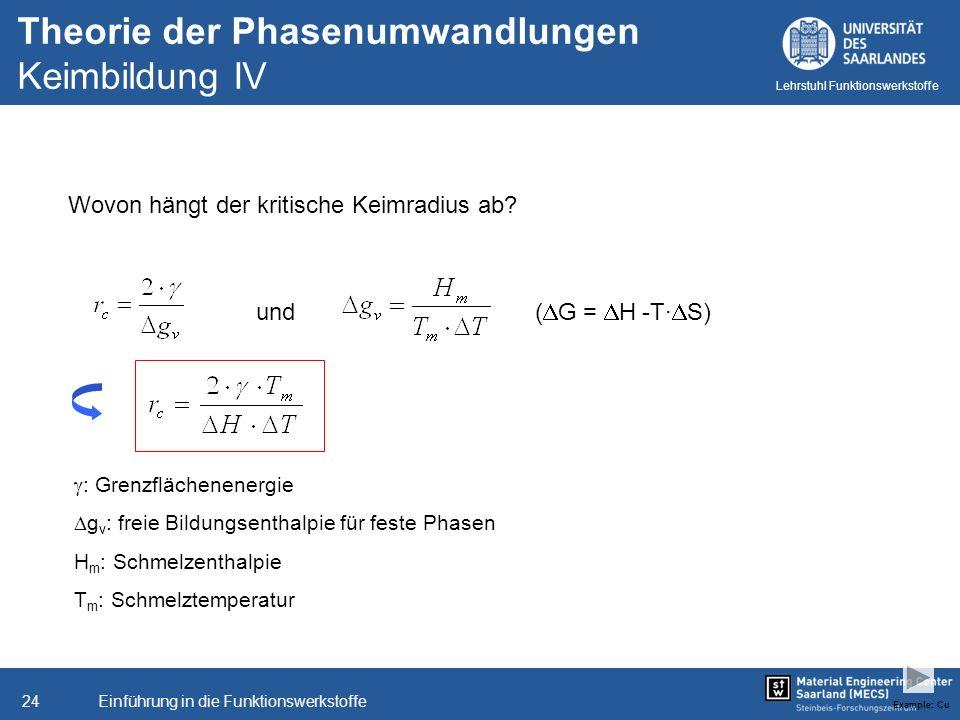 Theorie der Phasenumwandlungen Keimbildung IV