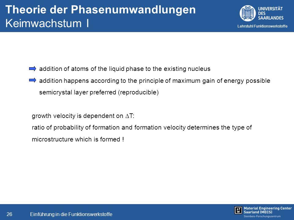 Theorie der Phasenumwandlungen Keimwachstum I