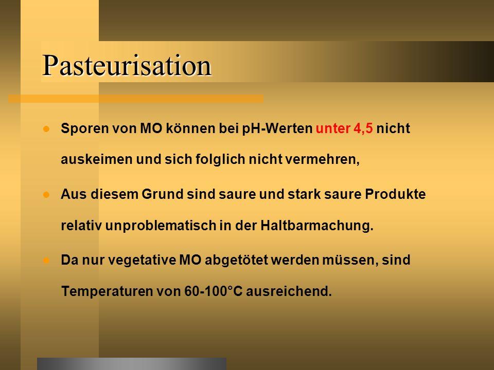 Pasteurisation Sporen von MO können bei pH-Werten unter 4,5 nicht auskeimen und sich folglich nicht vermehren,