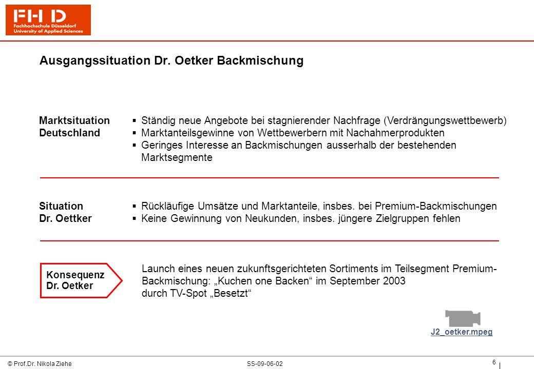 Ausgangssituation Dr. Oetker Backmischung