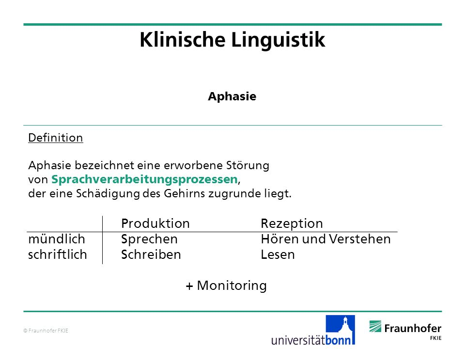 Klinische Linguistik Produktion Rezeption