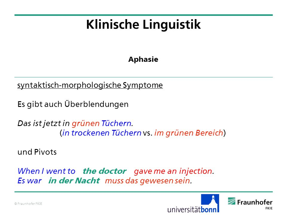 Klinische Linguistik syntaktisch-morphologische Symptome