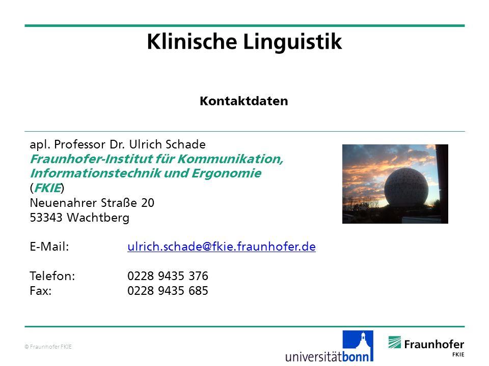 Klinische Linguistik Kontaktdaten apl. Professor Dr. Ulrich Schade