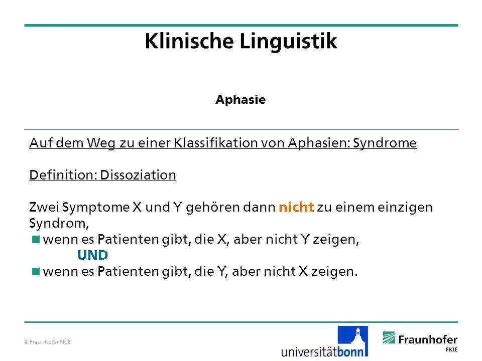 Klinische Linguistik Aphasie. Auf dem Weg zu einer Klassifikation von Aphasien: Syndrome. Definition: Dissoziation.