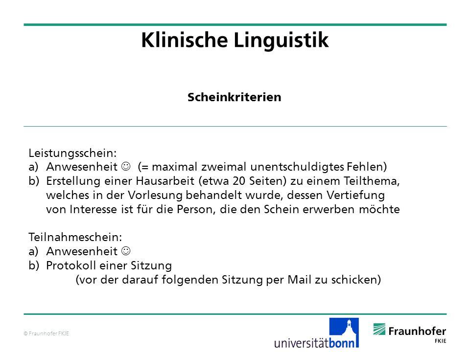 Klinische Linguistik Scheinkriterien Leistungsschein: