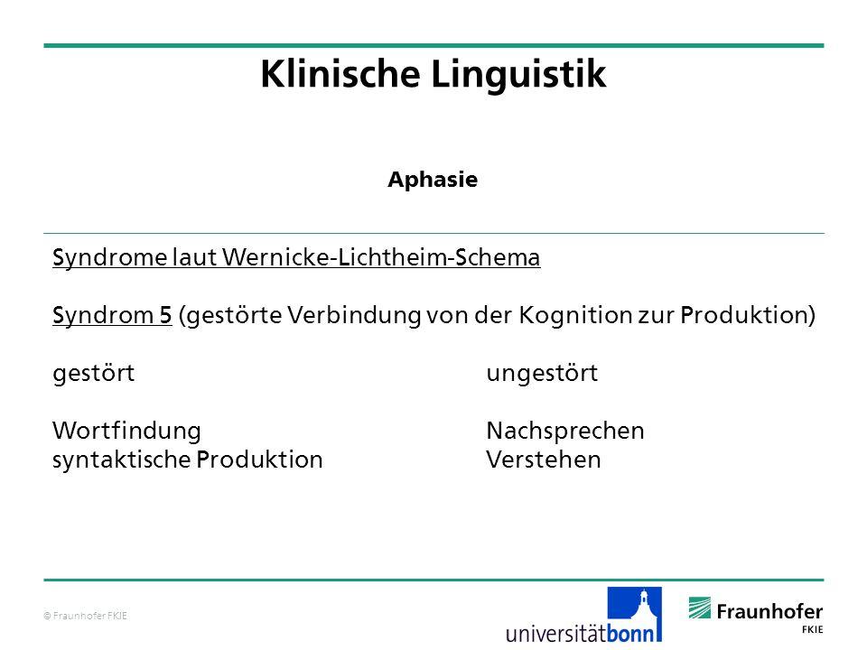 Klinische Linguistik Syndrome laut Wernicke-Lichtheim-Schema