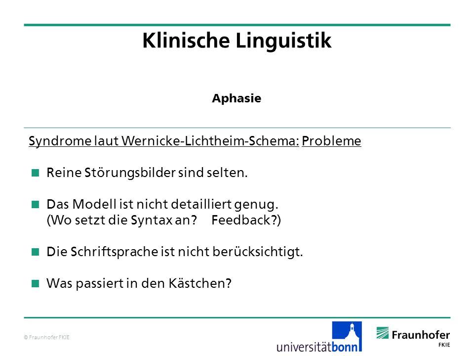 Klinische Linguistik Syndrome laut Wernicke-Lichtheim-Schema: Probleme